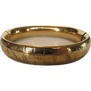 Vintage Gold Filled Hinged Bangle With Floral Decoration Etched Top