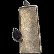 Sterling Silver Brushed Amethyst Modernist Pendant