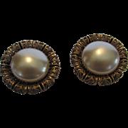 Vintage Joseff Signed Goldtone Faux Pearl Earrings