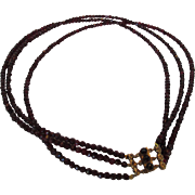Vintage Garnet Triple Strand Necklace with Charming Gold Filled Clasp