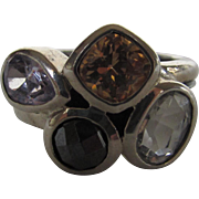 Sterling Sterling Multi Gem Modernist Ring Enhanced with Topaz, Amethyst and Hematite