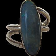 Sterling Silver Opal Modernist Ring