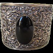 """Sterling Silver Massive 2"""" Wide Onyx Bracelet"""