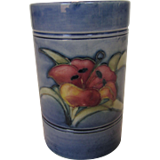 Moorcroft Mini Vase In Hyacinth on Blue Background