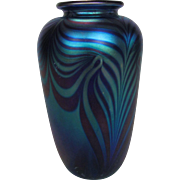 Eickholt Glass Vase in Beautiful Pulled Feather  Multi shades Of Blue