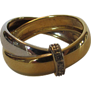 18 Karat Two Tone Gold Ring with Diamond Band Accent