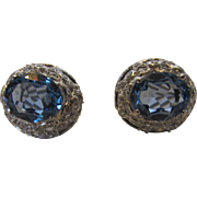 18 Karat White Gold Cornflower Blue Topaz and Diamond Surround Earrings