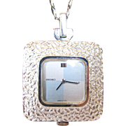 "Seiko Watch Necklace in Silvertone on a 30"" Chain"