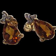 14 Karat Yellow Gold Citrine Ear Studs with Diamond Accents