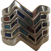 Sterling Silver 5 Rings or 1 Bold Stack Ring Inlaid with Turquoise, Onyx and Lapis