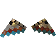 Vintage Geometric Gem Stone Earrings With Turquoise, Mother of Pearl, Coral and Onyx Mosaic