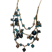 Vintage Givenchy Blue Crystal Necklace with Multiple Strands