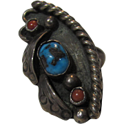 Sterling Silver Ring With Turquoise Center Stone and Coral Accents