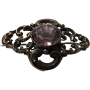 Victorian Gold Fill Pin with Unfoiled Faux Amethyst