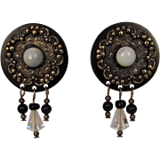 Vintage Clip Earrings With Faux Moon Stones and Crystal Dangles