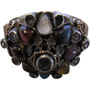 14 Karat Yellow Gold Vintage Princess Ring With a Variety of Gem Stones Cabochons and ...