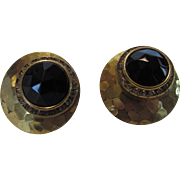 Haskell Signed Clip Earrings With Hammered Goldtone base and Faux Onyx Stones