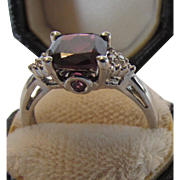 10 Karat White Gold Rhodalite Garnet and Diamond Ring