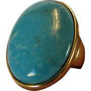 Sterling Silver Veronese Larimar With Gold Wash Ring