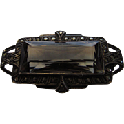 Sterling Silver Deco Marcasite Pin With Amber Crystal