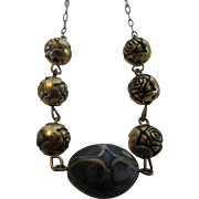 Vintage Dainty Goldtone Floral Themed Necklace With Turquoise Center Bead