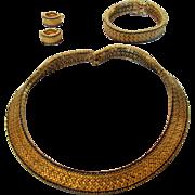 Vintage Ciner Set Necklace, Bracelet and Earrings in Goldtone Mesh and Edged in Ceylon Sapphir