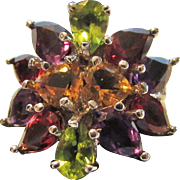 Sterling Silver Gemstone Ring Enhanced with Garnet, Peridot, Amethyst and Citrine