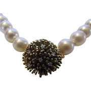 Cultured Pearls Necklace With Diamond Studded 14 Karat Yellow Gold  Clasp