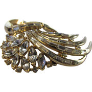 Vintage Crown Trifari Pin With Crystal Clear Marquis and Baguettes in Modernist Swirl Design