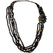 Lapis Lazuli Six Strand Necklace With Magnificent 14 Karat Clasp in Yellow Gold Featuring Lapi