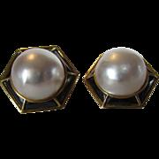 18 Karat Yellow Gold Mabe Pearl Pierced Earrings
