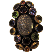 Sterling Silver Designer Signed Limited Edition Gem Ring Featuring Peridot, Amethyst, Topaz, .