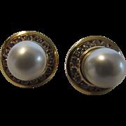 14 Karat and Cultured Pearl Diamond Earrings