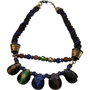 Vintage Chico Colorful Crystal Briolette  Necklace on Cord