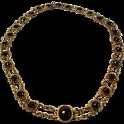 SOLD 14 Karat  Yellow Gold  Garnet Necklace Circa 1900