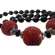 Vintage Black and Red Beads Combined with Three Faux Carnelian Colored Carved Spherers Necklac