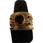 14 Karat Yellow Gold Garnet Band with Five Garnet Stones