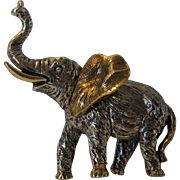 Vintage Art Trumpeting Elephant in Silver and Goldtones Pin