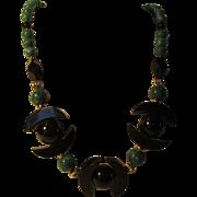 Vintage Malachite and Onyx Necklace