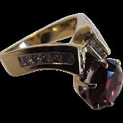 14 Karat Yellow Gold Rhodolite Garnet  and Diamond Ring in Asymmetrical Modernist Setting