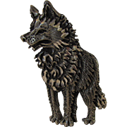Vintage Designer Signed Wolf in Pewter Tone Pin
