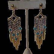 14 Karat Yellow Gold Turquoise Shoulder Duster Earrings Pierced