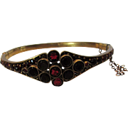 Vintage Bohemian Garnet Bangle in Vermeil
