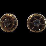 14 Karat Yellow Gold Pierced Earrings With Light Blue Topaz