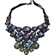 Vintage Crystal Necklace in Blue and Purple Varied Tones by Joan Rivers