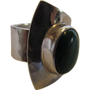 Sterling Silver Designer Modernist Malachite Ring Mexico