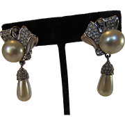 Vintage Swarovski Signed Earrings With Faux Pearls and Clear Crystals