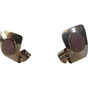 Sterling Silver Modernist Pierced Earrings With Mother Of Pearl in Pink Hues