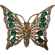 Vintage 1940's Butterfly Pin With Faux Emerald Tone Open Back Crystals