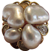 14 Karat Yellow Gold Cultured Pearl Ring With Diamond Accents